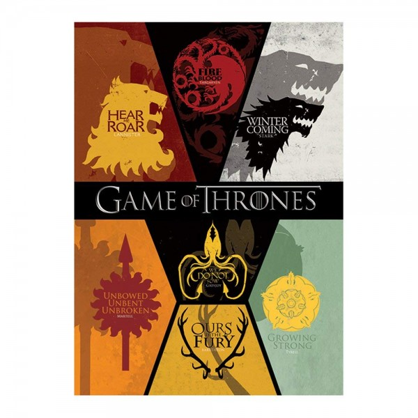 Game Of Thrones - Postkarte - Häuser Wappen