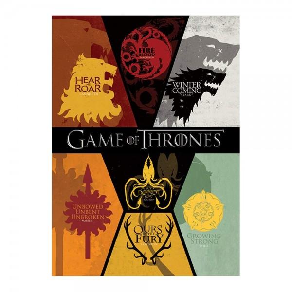 Game Of Thrones - Postkarte - Häuser Wappen