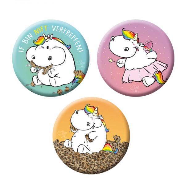 Pummeleinhorn Button - Pummelfee (3er Set)